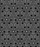 Monochrome illusory abstract geometric seamless pattern with 3d. Geometric figures. Vector black and white striped backdrop Stock Photography