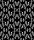 Monochrome illusory abstract geometric seamless pattern with 3d. Geometric figures. Vector black and white striped backdrop Royalty Free Stock Images