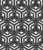 Monochrome illusory abstract geometric seamless pattern with 3d. Geometric figures. Vector black and white striped backdrop Stock Photo