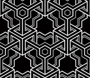 Monochrome illusory abstract geometric seamless pattern. With 3d geometric figures. Vector black and white striped backdrop Royalty Free Stock Photography