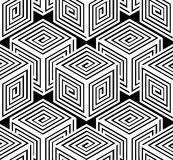 Monochrome illusory abstract geometric seamless pattern, 3d. Monochrome illusory abstract geometric seamless pattern with 3d geometric figures. Vector black and Stock Image