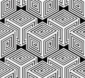 Monochrome illusory abstract geometric seamless pattern, 3d Stock Image