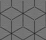 Monochrome illusory abstract geometric seamless pattern with 3d. Geometric figures. Vector black and white striped backdrop Royalty Free Stock Photos