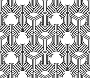 Monochrome illusory abstract geometric seamless pattern with 3d. Geometric figures. Vector black and white striped backdrop Royalty Free Stock Image