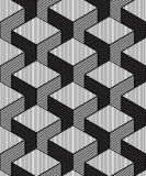 Monochrome illusory abstract geometric seamless pattern with 3d. Geometric figures. Vector black and white striped backdrop Stock Image