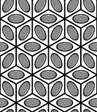 Monochrome illusory abstract geometric seamless pattern with 3d. Geometric figures. Vector black and white striped backdrop royalty free illustration