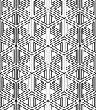 Monochrome illusory abstract geometric seamless pattern with 3d. Geometric figures. Vector black and white striped backdrop Stock Images