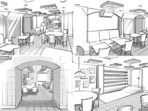 Illustration of a cafe interior. Monochrome illustration of a cafe interior stock illustration