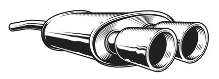 monochrome illustration of car exhaust pipe. On white background Stock Photo