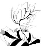 Monochrome illustration with flower. Universal template for greeting card, web page, background Stock Photo
