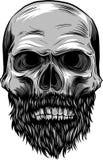 Monochrome illustration of hipster skull with mustache and beard. stock illustration