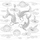 Monochrome illustration of japanese koi for coloring page Stock Photos