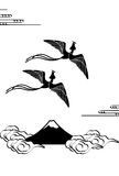 Monochrome illustration of a phoenix flying over mountains Stock Image