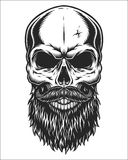 Monochrome illustration of skull. Monochrome illustration of hipster skull with mustache and beard.  on white background Stock Images