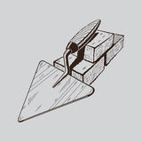 It is monochrome illustration of trowel Royalty Free Stock Images