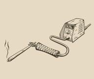 It is monochrome illustration of welding machine Stock Image
