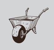 It is monochrome illustration of wheelbarrow Royalty Free Stock Photo