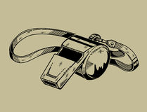 Monochrome illustration of whistle. Sports Royalty Free Stock Image