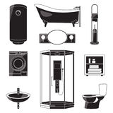Monochrome illustrations of bathroom furniture and others sanitary symbols. Vector black pictures isolated Stock Images