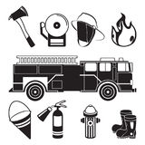 Monochrome illustrations of fireman tools in fire station department. Equipment for firefighter, protection and extinguisher vector Royalty Free Stock Image