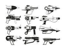 Monochrome illustrations of futuristic weapons for astronauts stock illustration