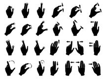 Monochrome illustrations of gestures to control electronic devices with touchscreen. Gesture finger and hand touchscreen vector Stock Photo