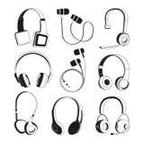 Monochrome illustrations set. Silhouette of headphones vector illustration