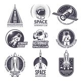 Monochrome illustrations of space shuttle and astronauts for labels and badges stock illustration