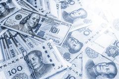 Monochrome image of china and USA money bank notes. Royalty Free Stock Photos