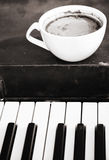 Coffee. Monochrome image, coffee and music stock images