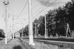 Monochrome image. Commuter train in the suburbs of Moscow. Stock Images