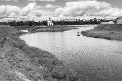 Monochrome image. Fascinating riverside scenery of the Tmaka River near its joining the river Volga. The City Of Tver, Russia. Stock Photos