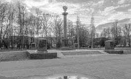 Monochrome image. Monument in honor of awarding Rzhev the title `Ð¡ity of military glory` on the Soviet Square in Rzhev, Russia. During World War II Rzhev was royalty free stock photo