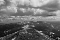 Monochrome image of mountain valley Stock Photos