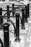 Monochrome image of an old Bicycle stand Royalty Free Stock Image