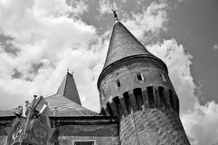 Monochrome image of an old castle defense tower Royalty Free Stock Image