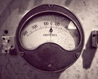 Monochrome image of an old round metal industrial ammeter with an analogue dial and scale royalty free stock image