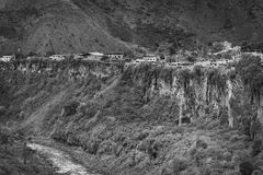 Monochrome Image of the Pastaza River and Banos in Ecuador Royalty Free Stock Images