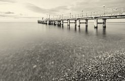 Monochrome image of the pier Stock Image