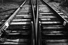 Monochrome image of the railway Stock Images