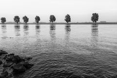 Monochrome image of a wide river early in the morning Royalty Free Stock Images