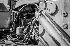 Monochrome of an Industrial Machines Engine Compartment Royalty Free Stock Image
