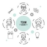 Monochrome infographic of team work with half body group of men and women and icon tools around stock illustration