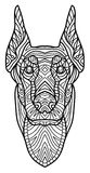 Monochrome ink drawing. Coloring book for adults. The head of a Doberman with pattern. Royalty Free Stock Images