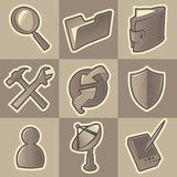Monochrome internet icons. Set of monochrome internet retro icons. Hatched in style of engraving. Vector illustration Royalty Free Stock Photo