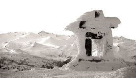 Monochrome Inuksuk. An inuksuk, a traditional inuit monument, stands at the top of Whistler Mountain Royalty Free Stock Photos