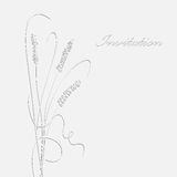 Monochrome invitation card. Decorative monochrome card with ears of wheat Royalty Free Stock Image