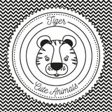 Monochrome irregular lines background with silhouette frame decorative and face tiger cute animals text. Vector illustration Royalty Free Stock Photography