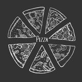 Pizza hand drawn. Monochrome Italian Pizza hand drawn vector illustration. Pizza slices in a circle. Packaging design template. Sketch illustration. Isolated on Stock Illustration