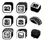 Monochrome japanese food color cartoon style design icons set with different sushi and rolls on white background Royalty Free Stock Images